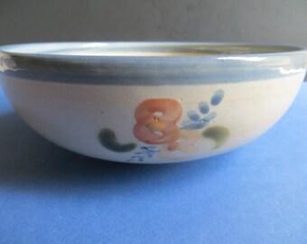 Louisville Stoneware Serving Bowl Orange Flowers