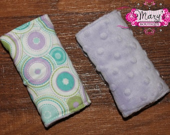 Lavender Minky Reversible Car Seat Strap Covers