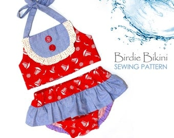 Girls Sewing Pattern, Swimsuit Sewing Pattern PDF, Romper Sewing Pattern, Sunsuit, Toddler Sewing Pattern, Baby Pattern pdf,  BIRDIE BIKINI