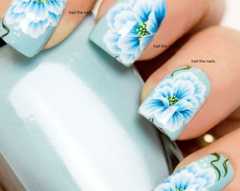 Blue floral Lily Rose Nail Wraps Water Transfers Decal Stickers Nail Art Y158