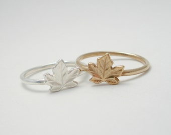 Canadian Penny Maple Leaf Ring - Sterling Silver or Bronze