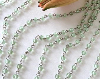 Mint Green Bead Chain, Glass Rosary Chain, 4mm, 5Ft