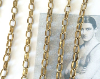 Vintage Riley Chain, Oval Brass Chain, Long Oval Link Chain, 7mm, 2Ft
