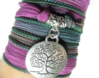 Bohemian Tree Of Life Silk Wrap Bracelet  Yoga Jewelry Yoga Necklace Spiritual Jewelry Wrist Band Unique Christmas Gift For Her