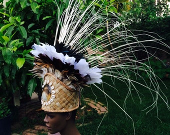 Natural brown, white, black headdress