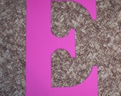 """Wooden Letters Wedding Guest book 30"""" letter capital serif E in Magenta gifts,  wall decor dorm initial signs"""