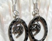 Silver Tone Earrings, Hoop, Star and Moon,Jewelry