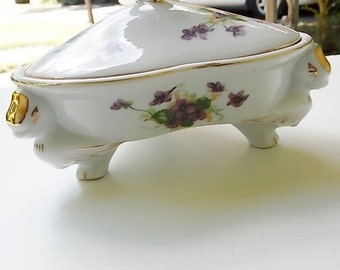 Vintage Norcrest Floral On White Divided Dish