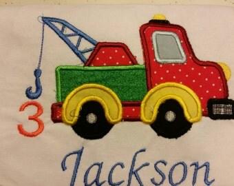 Appliqued Onesie Birthday Celebration Tee Shirt Personalized Birthday Shirt Vehicle Tow Truck Boy Birthday Bash Year Name Customization