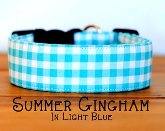 Modern Summery Gingham Dog Collar in Light Blue