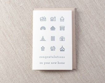 New Home Congratulations Letterpress Greeting Card
