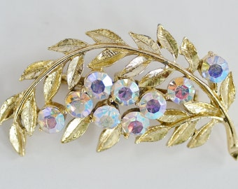 Aurora Borealis Rhinestone Leaf Brooch Gold Tone