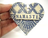 Namaste Ornament, Namaste Sign, Meditation Heart, Boho Decor, Boho Ornament, Sanskrit Word, Yoga Decor, Boho Heart, Bohemian Decor
