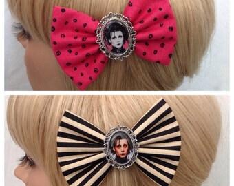 Edward scissorhands hair bow clip rockabilly psychobilly kawaii pin up punk fabric polka dot stripe ladies tim burton pink black