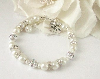 Mother Of The Bride Bracelet, Ivory Pearl Bracelet, Mother Of The Groom, Rhinestone Jewellery, Ivory Wedding,