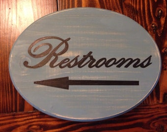 Restrooms sign with arrow (XL) (grey blue) (9x11)