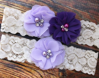 Purple Garter Set , Wedding Garter , Plum and Lavender  Garter , Garter , Toss Garter , Garter Set , Bridal Garter