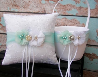 Your Colors , Flower Girl Basket and Ring Bearer Pillow Set , Mint Ring Bearer Pillow , Flower Girl Basket ,Wedding Pillow