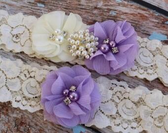 Lavender Garter Set , Wedding Garter , Ivory and Lavender Garter , Garter , Toss Garter , Garter Set , Bridal Garter