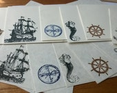 Nautical theme stationery Set 1 5 10 parchment paper letter writing and envelope anchor mermaid sailing ship wheel world globe compass