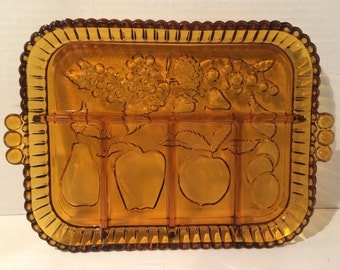 Amber Glass Tray with Handles and Fruit Pattern by Indiana Glass Co Americana Retro