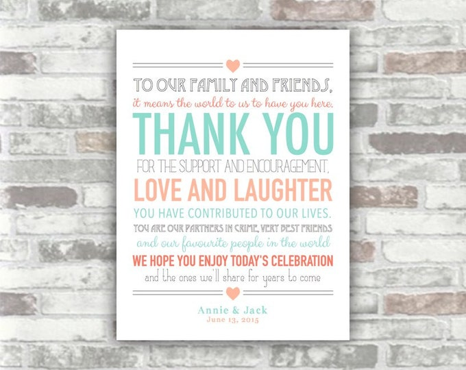 PRINTABLE Wedding Thank You Sign Digital Print Download - Peach Mint Turquoise Personalised Decor - Table place setting - DIY Print your own