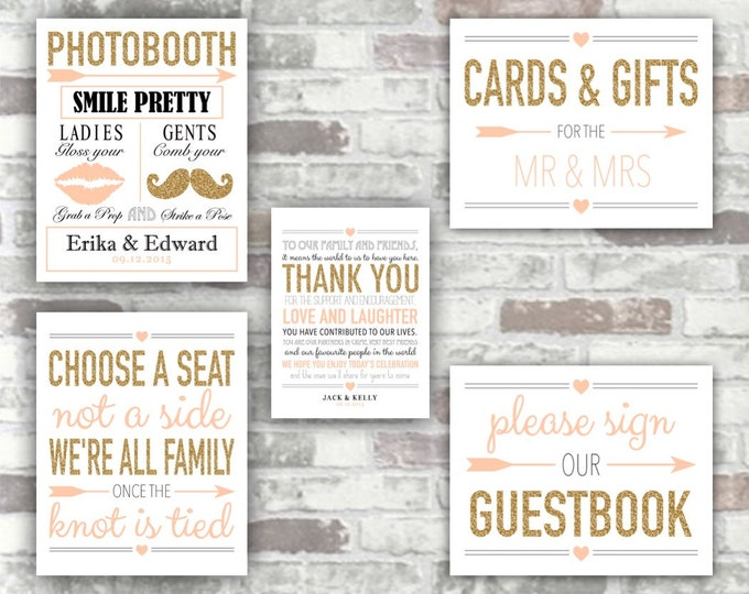 PRINTABLE WEDDING COLLECTION - Gold and Blush Pink Wedding Signs - Guestbook Photobooth Thank You Cards and Gifts Choose a Seat - Digital