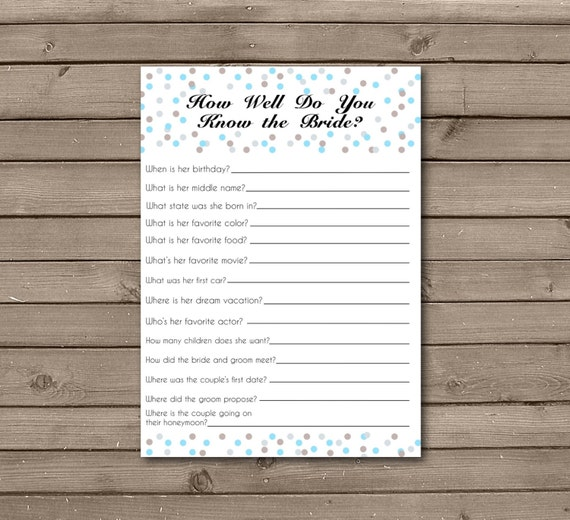 Confetti How Well Do You Know The Bride Printable Card