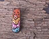 Cute Colorful Tribal Kitten Rustic Cat Pendant Long Bead