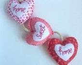 Hanging Fabric Hearts /Home Sweet Home garland/ shabby chic/ red and white/ home decor/ Housewarming present