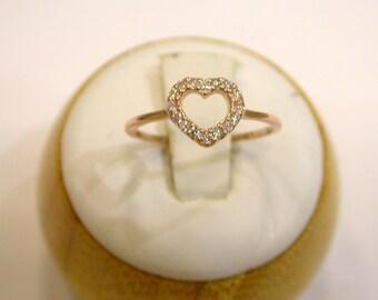 Diamond Heart Ring 14k Rose Gold/ Delicate Heart Ring/ Dainty Heart Ring/ Heart Ring Solid Rose Gold 14k