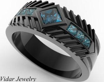 Men's Wedding Band 14K Black Gold Princess Cut Blue Diamond,Unique Wedding Ring,Mens Wedding Band,Princess Cut Diamond Ring For Mens