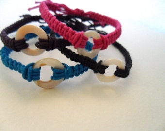 One macrame button adjustable bracelet