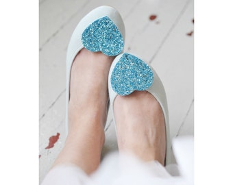 Aqua Shoe Clips, glitter heart shoe clips, turquoise shoe clips