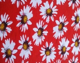 Cotton Stretch Daisy Flower on Red Print Fabric Jersey Knit by the Yard 6/15