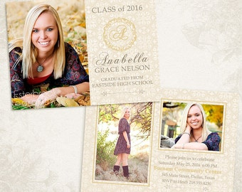 Senior Graduation Announcement Template for Photographers 004 - ID0101, Instant Download