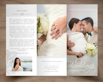 Wedding Photography Trifold Brochure Template - Client Welcome Guide - Flyer- Photography Pricing Guide - Price List -INSTANT DOWNLOAD ID242