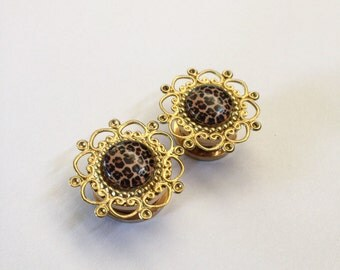 SALE Gold Leopard Filigree Ear Plugs