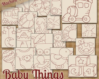 Baby Things Machine Embroidery Patterns / Redwork Designs 20 Designs INSTANT DOWNLOAD dst hus jef pes sew vip xxx