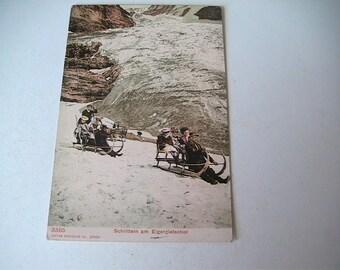 Swiss Postcard Vintage Switzerland Snow Sled Retro Collection Collectible Sledding Winter