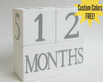 Baby Age Blocks - Custom Lettering Color