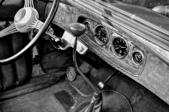 Old Car Interior Photo, HDR photograph, Black and white wood, 8 x 10 fine photography print, The Workhorse