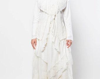 Broken White Magnolia Lace Maxi Ruffle Dress