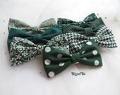 Hunter Mismatched Green Wedding Bow Ties, Emerald Wedding Bow Ties, Groomsmen Bow Ties, Matching Bow Ties