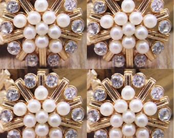 4 Flat Back Rhinestone Button Pearl Button (22 mm) QS-014