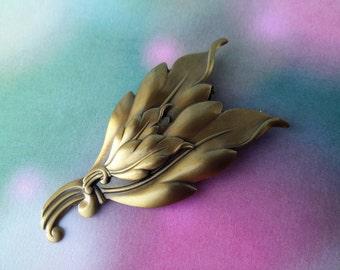 vintage costume jewelry leaf scarf holder
