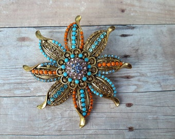 vintage brooch pin jewelry costume rhinestones flower