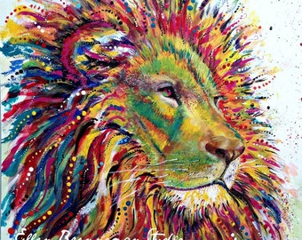 Lion art: nursery print nursery animal art lion gift Leo the Lion gift lion decor lion artwork lion spirit animal lion gift idea