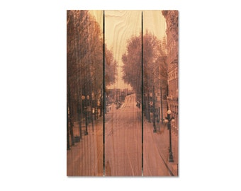 16x24 City Street on Cedar, Wooden Wall Decor, Black and White Wall Hanging, Hang Inside or Outside (PCS1624)