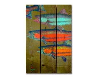 """16x24 Watercolor fish """"School's In"""" on Cedar, Colorful Indoor and Outdoor Decor, Wall Decor, Wall Hanging Art. (DCSI1624)"""